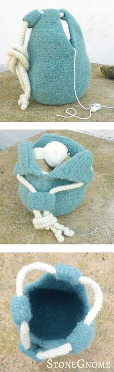 Droplet Yarn Bowl Pattern. Crocheted and felted.