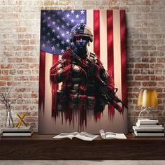 American Flag Art, American Soldiers, Memes Arte, Patriotic Pictures, Wooden Flag, Military Art, Military Crafts, Arte Pop, Wall Art