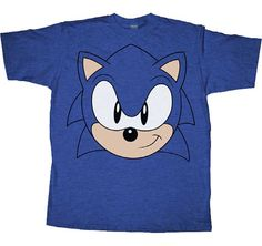 Sonic the Hedgehog Big Face Blue Heather Adult T-shirt $18.95