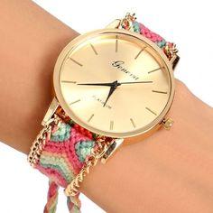 Handmade Braided Casual Women Friendship Bracelet Watch Round Dial Quartz Wrist Watch