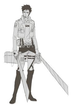 Trafalgar D. Water Law wearing 3D manuver gear from Attack On titan (Shingeki No Kjojin) Aot Snk  One Piece