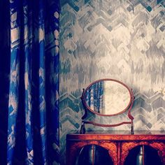 Mirror Mirror on the wall whose the fairest... 1 - Navy Brushed Herringbone Cotton Fabric  Or 2 - Grey Brushed Herringbone Wallpaper  #blue #grey #herringbone #bespoke #bedroom #cotton #fabric #upholstery #curtains #pattern #contemporary #style #victorian #traditional #lux #fashion #ontrend #interiordesign #homedecor #homewares #westlondon #townhouse by 17patterns