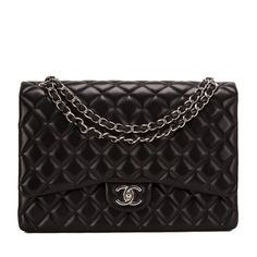 Chanel Maxi Classic double flap bag of black lambskin leather with silver tone hardware. AVAILABLE NOW For purchase inquiries, Please Contact: Email: info@madisonavenuecouture.com I Call (212) 207-4572 I WhatsApp (917) 391-2281 Direct Message on Instagram: @madisonavenuecouture Guaranteed 100% Authentic | Worldwide Shipping | Bank Transfer or Credit Card
