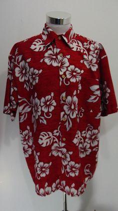 Mens Hawaiian Extreme Gear Shirt Short Sleeve Red White Floral Size XL #ExtremeGear #Hawaiian