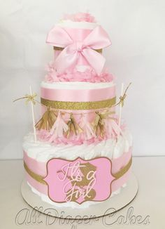 Pink and Gold Baby Shower Diaper Cake, Princess Pink and Gold Centerpiece by AllDiaperCakes on Etsy https://www.etsy.com/listing/243369445/pink-and-gold-baby-shower-diaper-cake