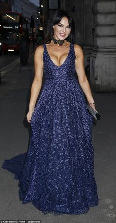 Eye-popping cleavage: Lizzie Cundy put on another show-stopping display as she headed to the Shamrocks And Dragons Gala Dinner at Middle Temple, London on Thursday night Gala Dinner, Blue Gown, Put On, Bash, Glamour, Thursday Night, Gowns, Eyes, Dragons