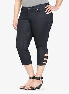 Torrid Cropped Skinny Jean - Dark Rinse with Bow Cutouts. These aree super cute on and have sort of a retro vibe to 'em.