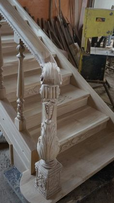 Carved wooden post for stairs. Rustic Staircase, Wooden Staircases, Wooden Stairs, Staircase Design, Staircase Ideas, Staircase Molding, Grand Staircase, Cable Stair Railing, Stair Spindles