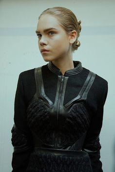 Iris Van Herpen AW15 Dazed backstage womenswear leather knit