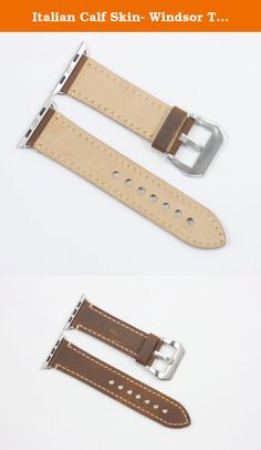 Italian Calf Skin- Windsor Tan handmade leather watch strap from NICCOLO COLLECTION. Glued and stitched with Tiger thread. Edges are painted with edge paint to give good finish. Adapters are included (Please select adapter color of your choice) Size:- Each band is 125 mm x 75 mm. Fits 170-198 mm wrist measurement.