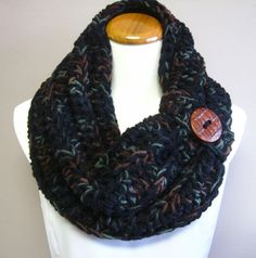 Chunky Bulky Button Crochet Cowl  Black with by CrochetCluster, $26.00