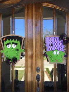 Double Frankenstein and Bride Burlap Door Hangers & Double Door hangers with Merry Christmasfinished plywood and ...