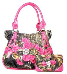 Western Pink Camouflage Flower Rhinestone Purse W Matching Wallet *** Want additional info? Click on the image.