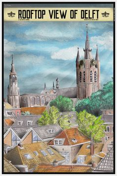 Travelposter of the city of Delft, the Netherlands - Rooftop view -