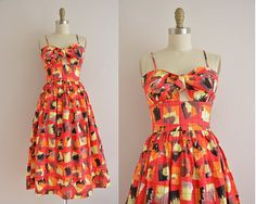 vintage 1950s dress / 50s abstract print by simplicityisbliss