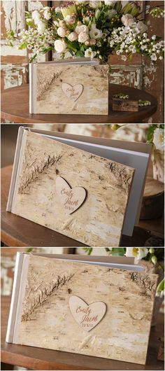 rustic country birch bark wedding guest books