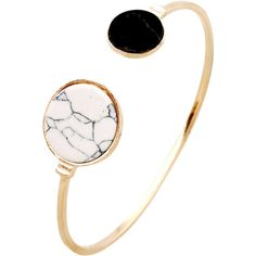 Stone Round Cuff Bracelet Golden (€2,32) ❤ liked on Polyvore featuring jewelry, bracelets, hinged cuff bracelet, golden jewellery, golden jewelry, stone jewellery and cuff bangle