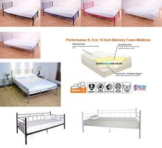3ft 4ft 4ft6 Single Double Metal Day Bed Frame in Black Pink Blue White Silver