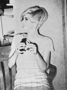 Edie Sedgwick wearing 60s wig at the Factory ca. 1966. Photo by Billy Name