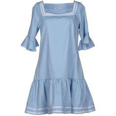 Vivetta Short Dress ($165) ❤ liked on Polyvore featuring dresses, sky blue, mini dress, blue mini dress, flutter-sleeve dress, ruffle dress and short ruffle dress