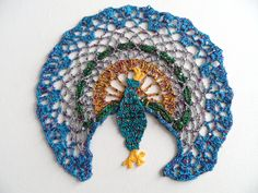 Peacock Crochet Doily - Crochet Table Decoration - Coffee table doily - Unique Home decor - Hostess gift - Homemaker gift - Seasonal decor by ElenisCrochet on Etsy