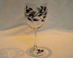 Hand-painted set of 4 glasses with black and silver rosebuds | PinkFox - Glass on ArtFire