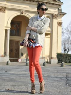 coral pants plus boots-Early spring outfit