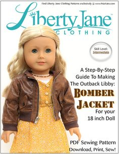 The Liberty Jane Outback Libby: Bomber Jacket PDF Pattern designed to fit an 18 inch American Girl Doll is definitely a statement piece! Download, Print, Sew!