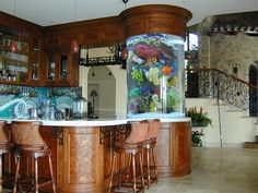 Those are the ideas of aquarium kitchen which can be your inspirations. Placing an aquarium in the kitchen is a smart idea to have a unique decoration. Fish Tank Design, House Design, Decor, Interior Design, Beautiful Interiors, Home, Interior, Indoor Decor, Home Decor