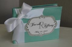 Tiffany blue satin Guest book with bling by ForeverLoveNotes, $45.00