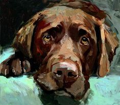 """Daily Paintworks - """"Choco , a portrait of a brown labrador, a dog"""" - Original Fine Art for Sale - © adam deda Brown Labrador, Illustrations, Illustration Art, Dog Portraits, Animal Paintings, Dog Art, Chocolate Labs, Gallery Website, Labradors"""