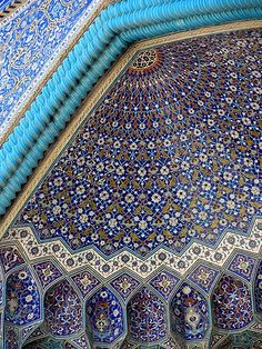 the unique blue tiles of Isfahan - We spent several years in Iran back in the 1970s and the mosiac workmanship in Iran (as well as other parts of the Middle East) is absolutely awe inspiring.