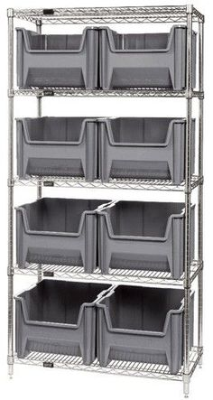 Warehouse Shelving - deposit inventory by the pallet, create rows to organize yo. Warehouse Shelving – deposit inventory by the pallet, create rows to organize your warehouse, and Basement Storage, Office Storage, Storage Shelves, Storage Spaces, Warehouse Design, Warehouse Plan, Garage Storage Solutions, Storage Systems, Wire Shelving Units