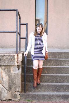 The Everlane Tee Dress | Something Good, @danaerinw, women, fashion, clothing, style, clothes, spring fashion, spring outfit, tee dress, everlane, striped tee dress, cognac boots, sam edelman, long sweater, cardigan, saddle bag
