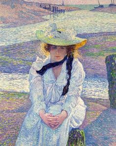 Theo van Rysselberghe, woman on the sand shore, 1901 on ArtStack #theo-van-rysselberghe #art