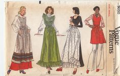 Vintage Retro Vogue 9050 Misses Apron Variations Gathered Skirt Patch Pockets Sz Small 1970s - pinned by pin4etsy.com