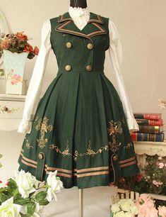 Dark Green Gilding Cross Pattern Detachable Cloak Woolen Cloth Lolita Dress