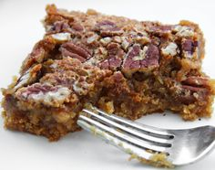 "Pecan pie squares, uses yellow cake mix for the ""crust"""