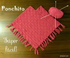 Ponchito Tejido A Dos Agujas – Alicia's Own Crochet Girls, Love Crochet, Beautiful Crochet, Crochet Baby, Crochet Poncho Patterns, Knitted Poncho, Crochet Shawl, Knit Baby Dress, Knitted Baby Clothes