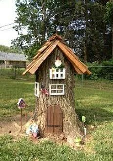 Another cute idea for those pesky stumps! I would love this in a fairy garden.