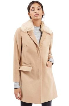 Topshop 'Mia' Faux Fur Collar Slim Fit Coat available at #Nordstrom