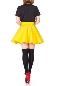 Fancy Retro High Waist A line Flowing Full Flared Swing Circle Skater Short Mini Skirt Yellow 05 1 Pin Up Girls, Size Model, Simple Designs, Size Clothing, Party Wear, Casual Looks, Skater Skirt, High Waist, Mini Skirts