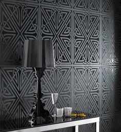 Viva Black Gloss Wallpaper by Barbara Hulanicki - Graham & Brown (LOVE IT)