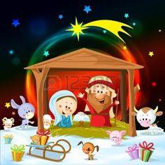Weihnachten Krippe mit Licht und niedliche Tiere photo