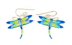 Royal Blue Dragonfly Earrings by Susan Packard