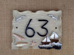 House number plaque, seaside design, beach theme, door number. - pinned by pin4etsy.com