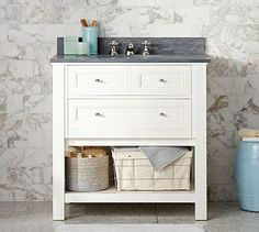 Classic Single Sink Console - White... also in other colors. like handles, one actual drawer