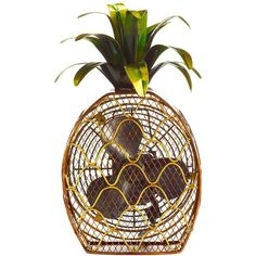 DecoBREEZE Pineapple Figurine Fan ($96) ❤ liked on Polyvore featuring home, home decor, fans and standing fans