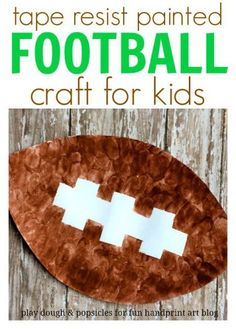 Tape Resist Painted Football Craft For Kids. This adorable craft is painted with…