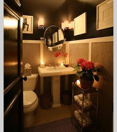 Even a small space can look glorious! Great design all around here in this powder room.